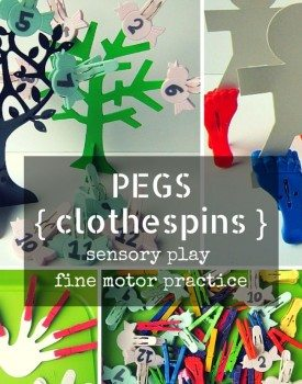 Several variations of fine motor practice with clothespins from a single pegs sensory bin. Perfect for toddlers and preschoolers to use to strenghten their grip.