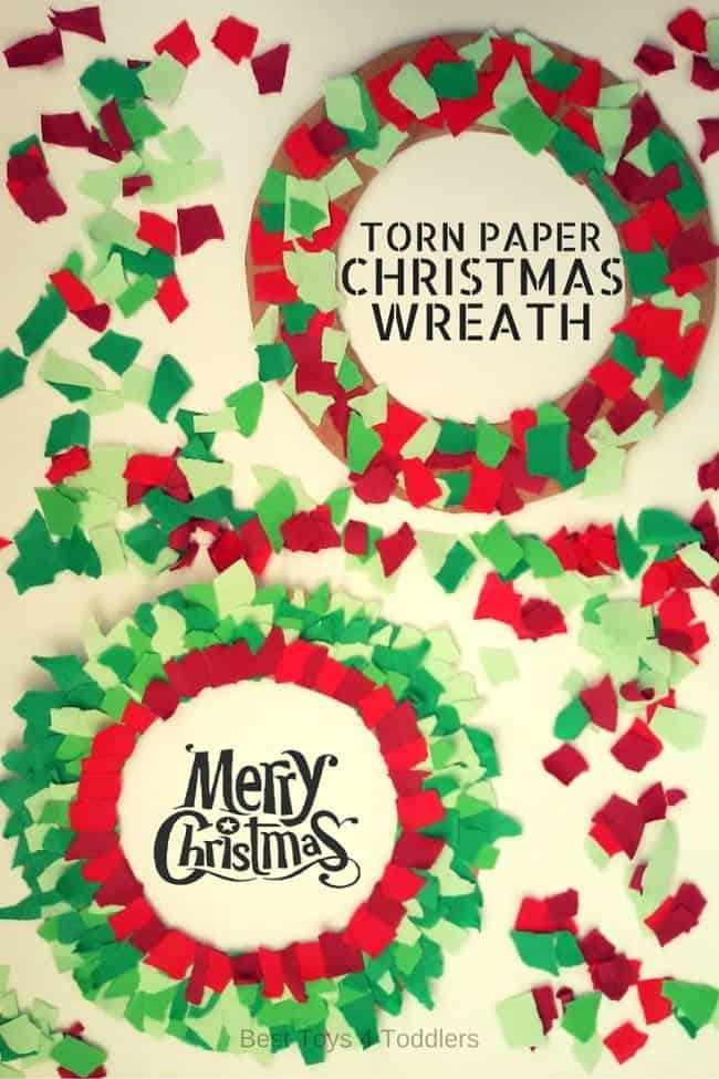 Easy to make Christmas wreath caraft for toddlers and preschoolers