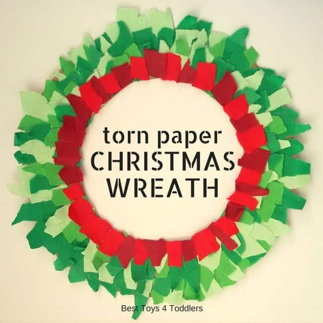 Torn paper Christmas wreath craft kids crated as part of advent countdown activity.