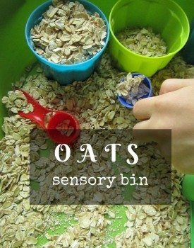 Simple to setup sensory bin with oats, perfect for toddlers who put everything in their mouth!