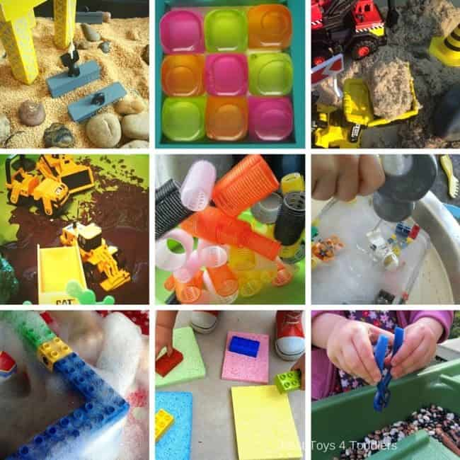 using different toys, tools and everyday items for building and sensory play