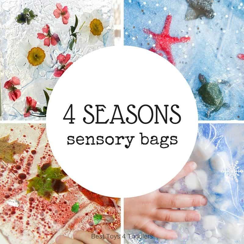 No mess! Explore 4 seasons with these baby and toddler safe sensory bags! Perferct sensory bags for winter, sping, summer and fall seasons!