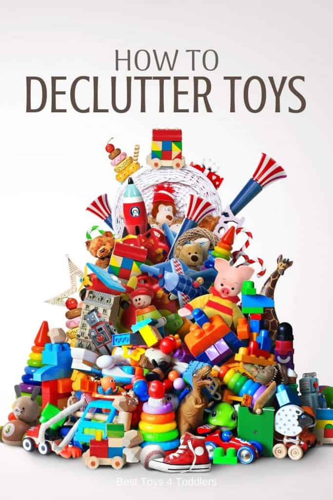 How to declutter toys in child's playroom - guide what to toss and what to keep to reduce clutter and bring out more play with toys #playroomorganization #toyorganization #decluttering #playroom