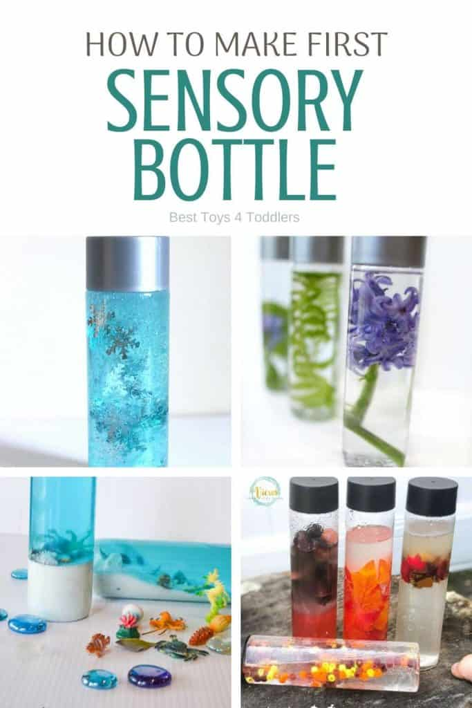 Best Toys 4 Toddlers - How to make your first sensory bottle? What to use as a filler? Sensory bottles are mess-free way to entertain babies and toddlers who like to put things into their mouth. #sensoryplay #sensorybottles #SPD #messfree #playideas #sensoryprocessing #DIYtoys