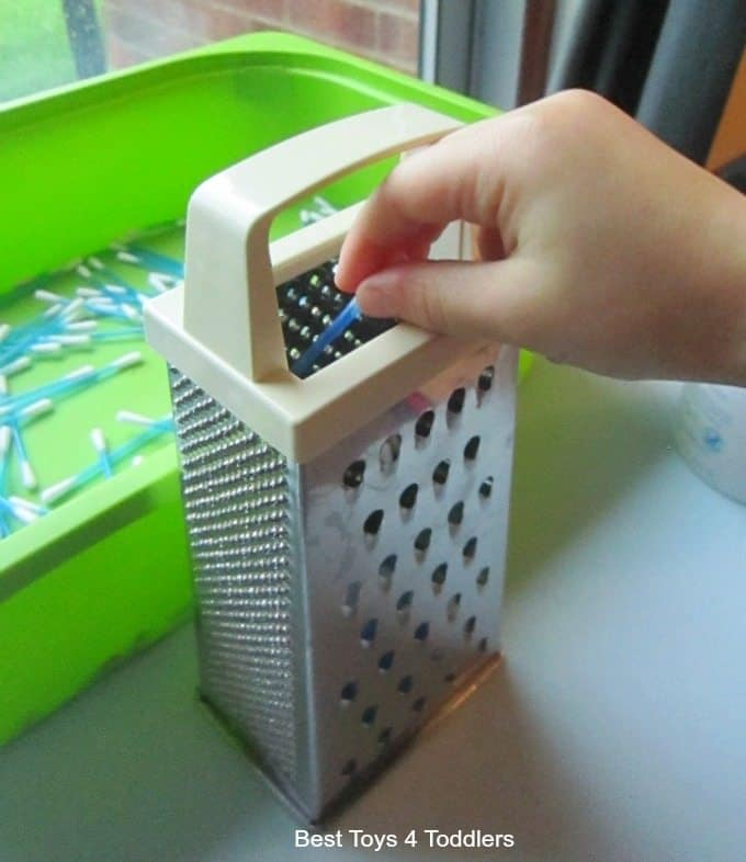 Q-Tip and kitchen cupboard resources play activity