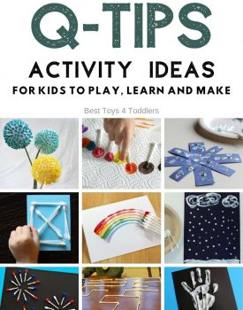 Q-tips activity ideas for sensory play, learning, art, crafts and more with one of the most inexpensive items we all have at home! #qtips #cottonbuds #sensoryplay #earlylearning #handsonplay #toddleractivities #playideas