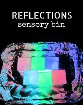 Amazing sensory bin to explore light and reflections with toddlers and preschoolers. And it's really simple to set up!
