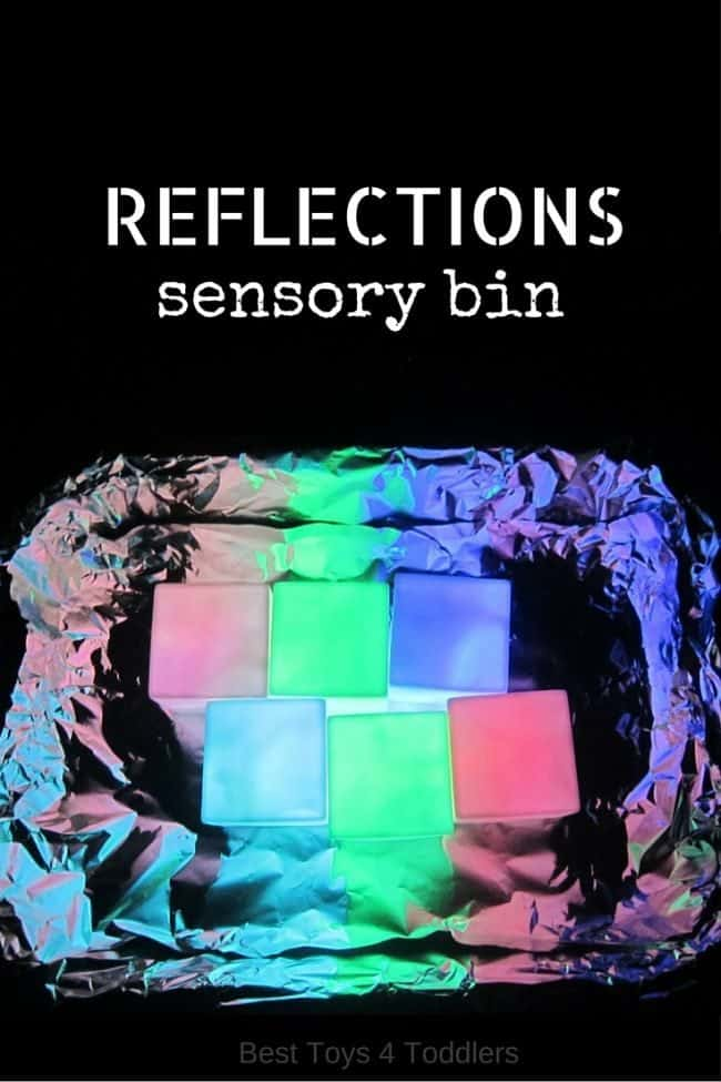 Best Toys 4 Toddlers: Reflections sensory bin to explore light and shadow with toddlers and preschoolers.  #sensorybin #sensoryplay #lightandshadow #visualsystem #SPD #sensoryprocessing #sensorytub