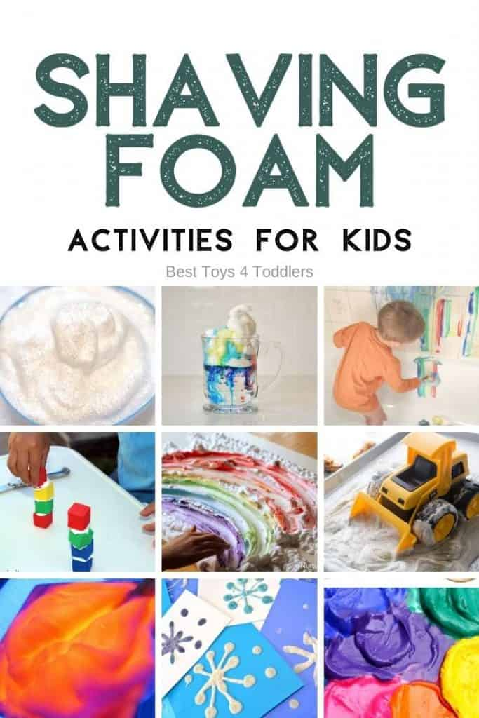 Shaving Foam Play Ideas - Shaving foam (or cream) is wonderful and very cheap material to use in many different activities with kids - from learning, sensory play, art or craft! #sensoryplay #shavingfoam #shavingcream #sensoryprocessing #earlylearning #finemotor #toddleractivities #playideas