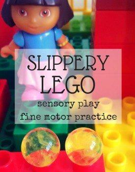 Slippery LEGO DUPLO Fine Motor Practice