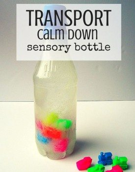 Best Toys 4 Toddlers - Suspended calm down sensory bottle with transport theme for babies and toddlers.