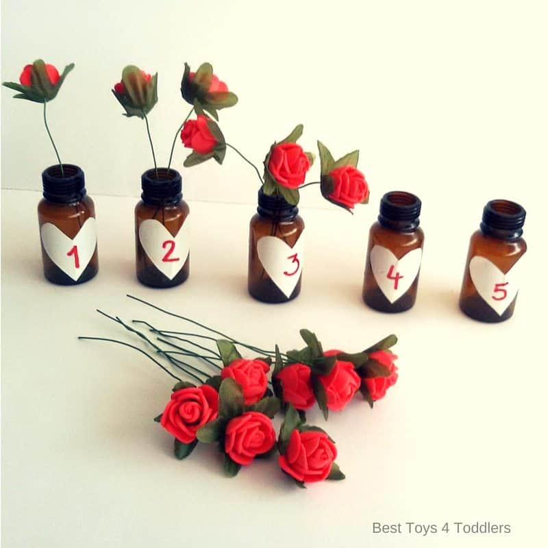 If you want to expand this activity and learn counting numbers 1-10, you will need 10 mini bottles and 55 mini roses!