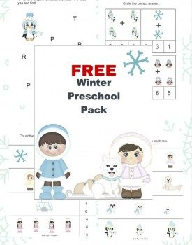 Sizing, counting, prewriting, coloring and other fun activities for toddlers and preschoolers to enjoy in winter! Free printable!