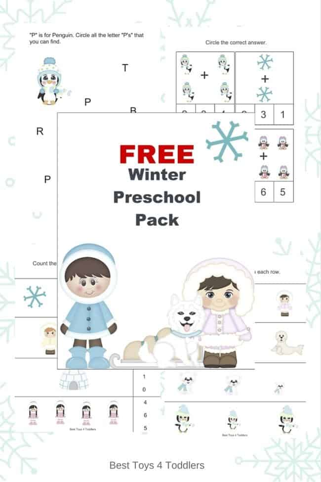 Sizing, counting, prewriting, coloring and other fun activities for toddlers and preschoolers to enjoy in free winter printable pack!