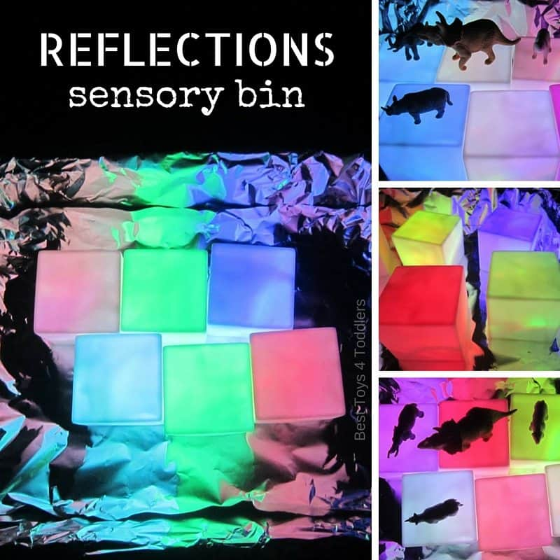 Perfect sensory bin for visual seekers - explore light and reflections with kids!