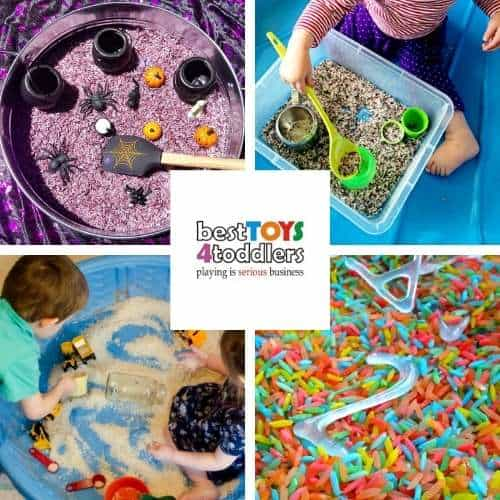 rice sensory bins and play ideas - Halloween witch brew, rosemary rice bin, giant pool rice bin, invisible letters and numbers