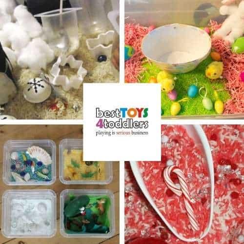 rice sensory ideas for kids - winter sensory bin, kool-aid colored rice, mini animal habitats and candy cane rice