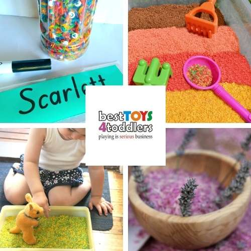 rice sensory play ideas for kids - rainbow rice, autumn scented rice, rice in color of your nation, calming lavender sensory bin