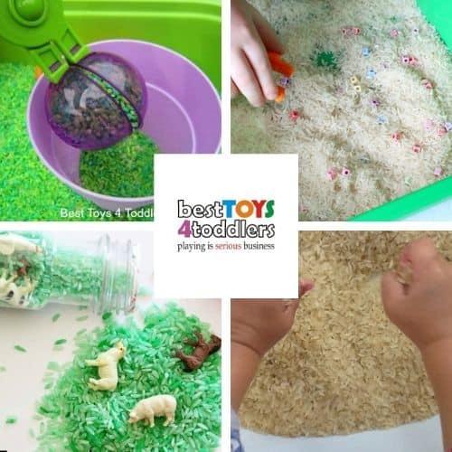 rice sensory play ideas for kids - apple scented bin, spell your name, mini travel sensory bottle