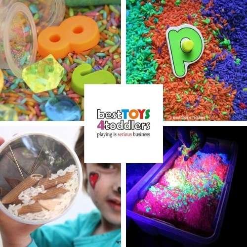 I spy sensory bin, letter search sensory bin, DIY rainstick and neon rice sensory bin