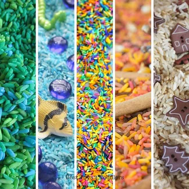 Best Toys 4 Toddlers - 33 Sensory play ideas with rice for every holiday and season!