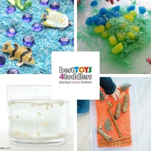rice sensory tub ideas - pretend play ocean, ice and rice, dancing rice science experiment, pumpkin scented rice