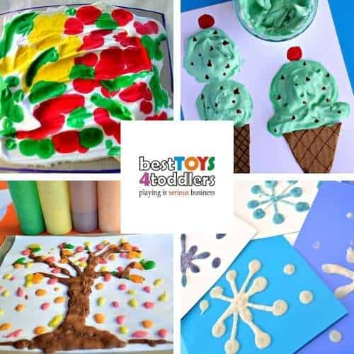 shaving cream craft activities - drip art, paint ice cream, paint fall tree, puffy paint snowflakes
