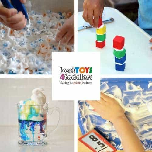 shaving cream learning activities - sight word hunt, building, science project, substraction smash