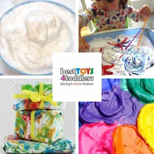 shaving foam art ideas - snow painting, fireworks, wrapping paper, puffy sand paint