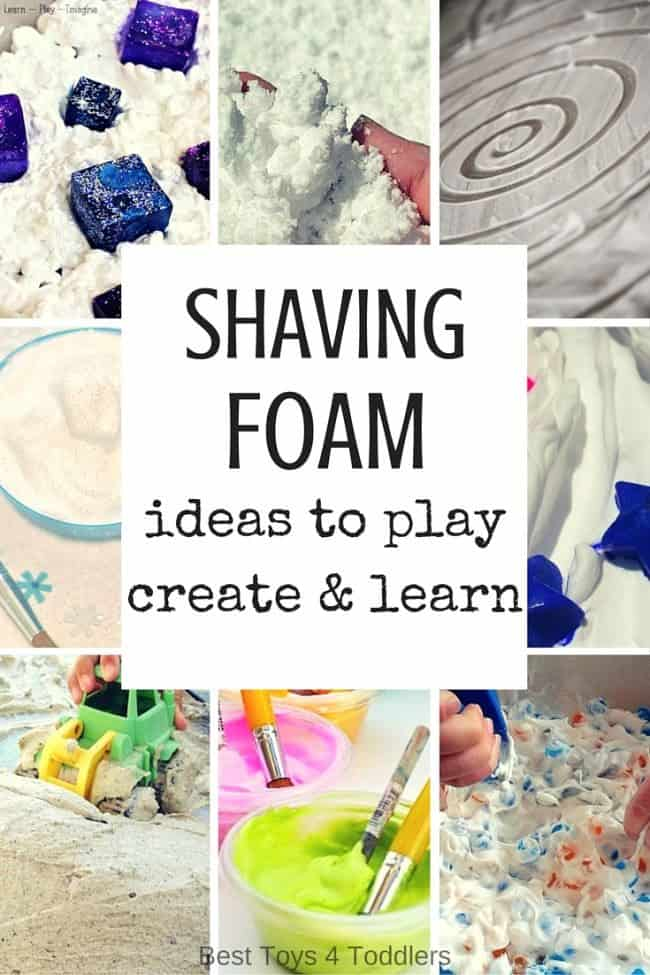 Best Toys 4 Toddlers - ideas for kids to play, learn and create with inexpensive material - shaving foam! Perfect for kids who love messy play!