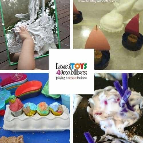 shaving foam sensory activities - shaving cream on mirrors, winter sailing, pretend play ice cream shop, pretend play cupcakes