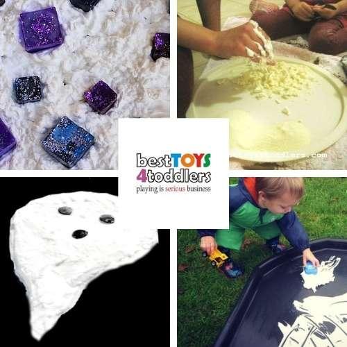 shaving foam sensory play ideas - frozen ice cubes, exploring textures, ghose dough, race tracks