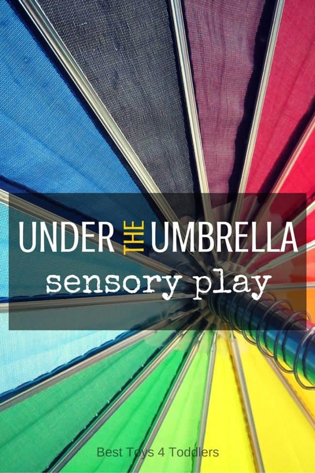 Best Toys 4 Toddlers - Simple way to create fun sensory play experince under the rainbow umbrella!