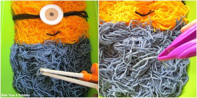 Using fine motor skills in a yarn sensory bin