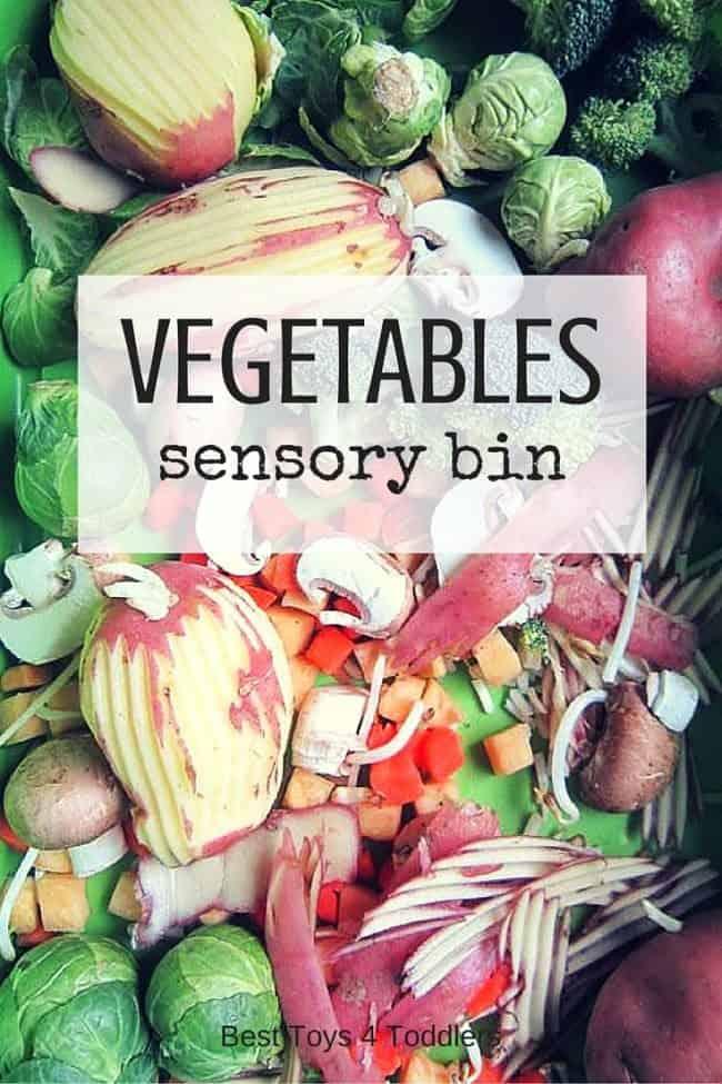 Best Toys 4 Toddlers - Vegetables sensory bin for preschoolers