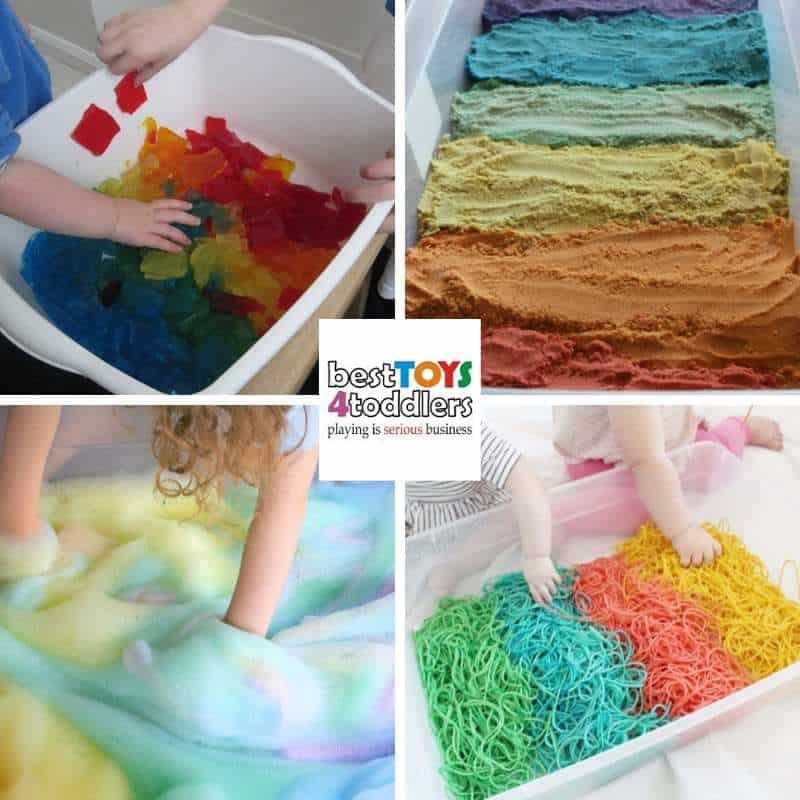 awesome rainbow sensory play activities for little kids - rainbow jelly, rainbow moldbable sand, rainbow soap, rainbow spaghetti