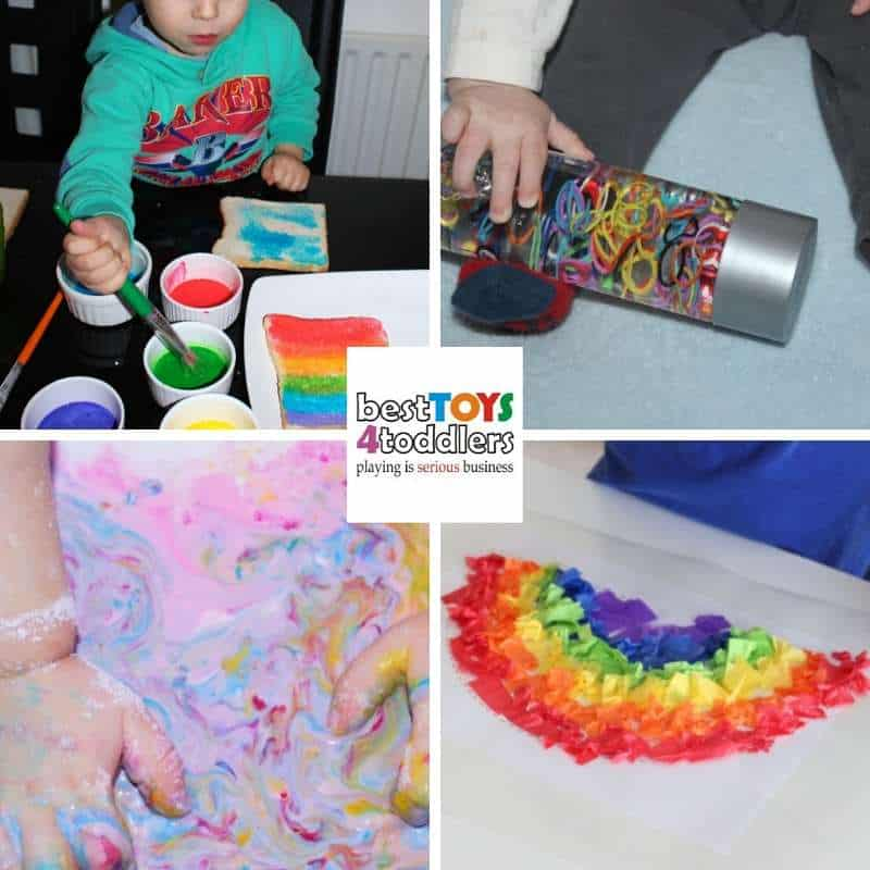 colorful rainbow sensory activities for babies and toddlers - painted toast rainbow, tainbow loom bands, rainbow goop, rainbow sun catcher
