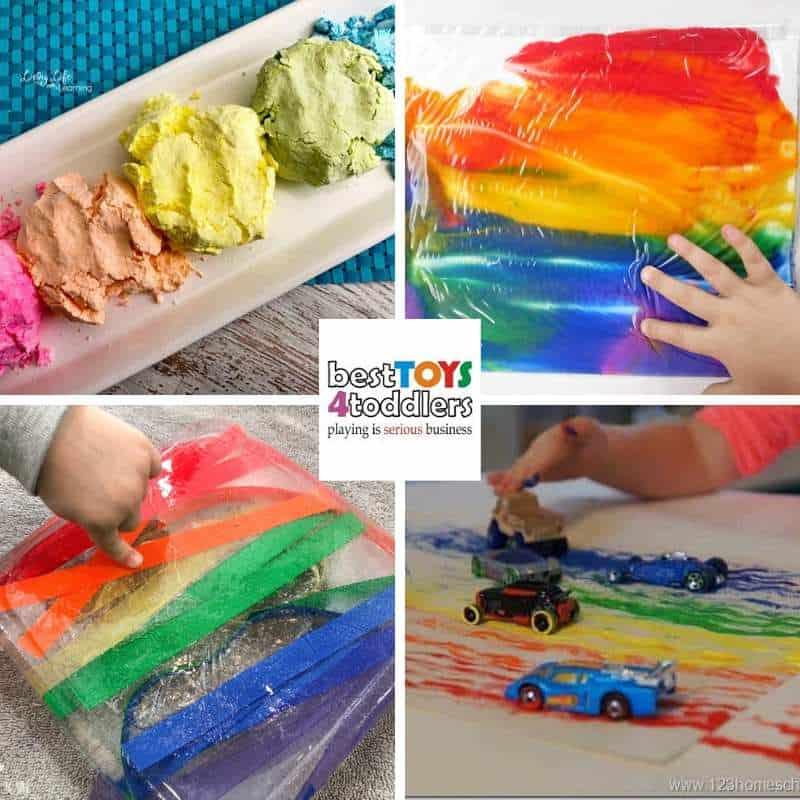 rainbow play ideas for toddlers and preschoolers - rainbow foam dough, rainbow sensory bag, rainbow ice excavation, rainbow car painting