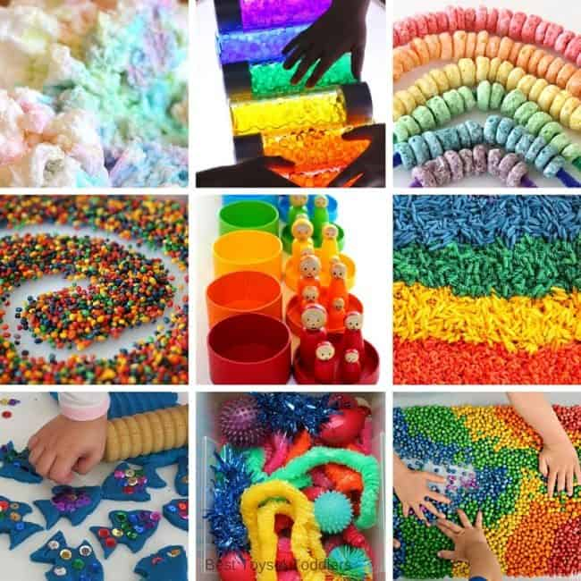 Best Toys 4 Toddlers - Ideas for rainbow sensory play - sensory bins, bottles and bags for kids to play