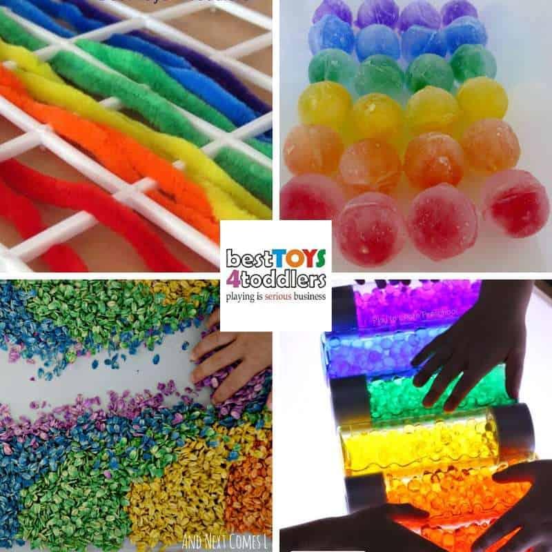 rainbow sensory play activities for kids - weave a rainbow, ice rainbow, rainbow oats, rainbow sensory bottles