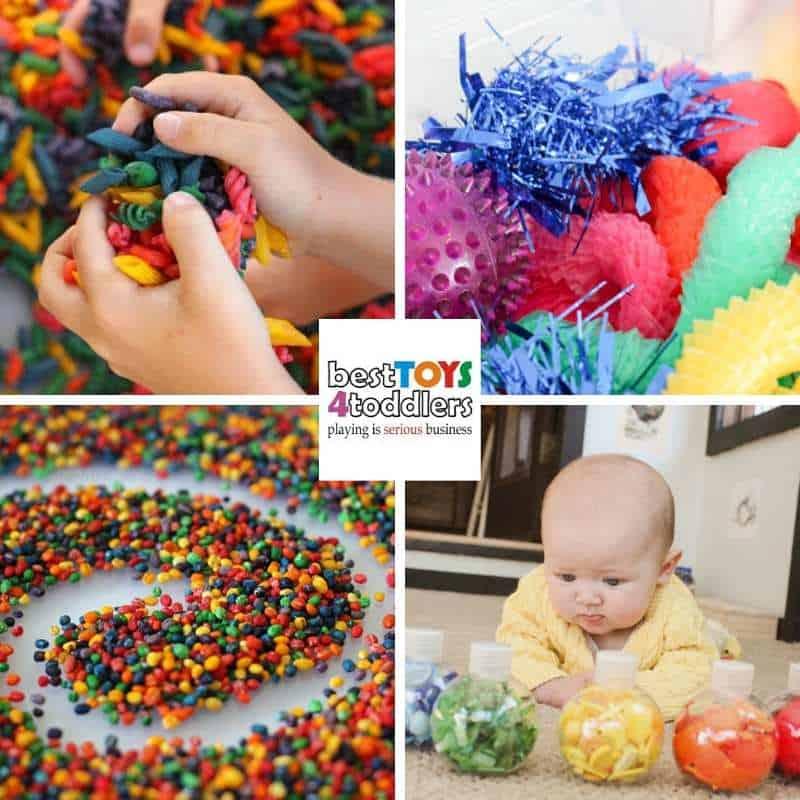rainbow themed spring sensory activities for toddlers - rainbow pasta, rainbow sensory bin, rainbow writing tray, baby rainbow bottles