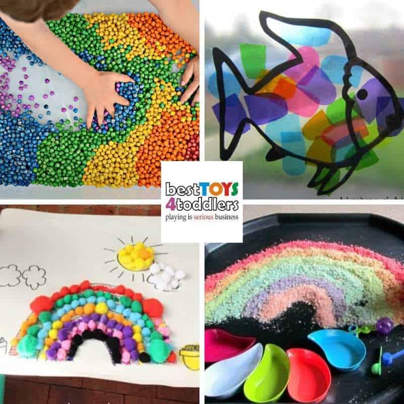sensory play activities with rainbows - rainbow chickpeas, rainbow elmer, pom pom rainbow, edible rainbow