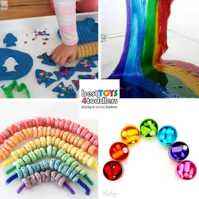 spring rainbow play ideas for 5 senses - rainbow fish playdough, rainbow slime, fruit loop tainbow, rainbow peg dolls