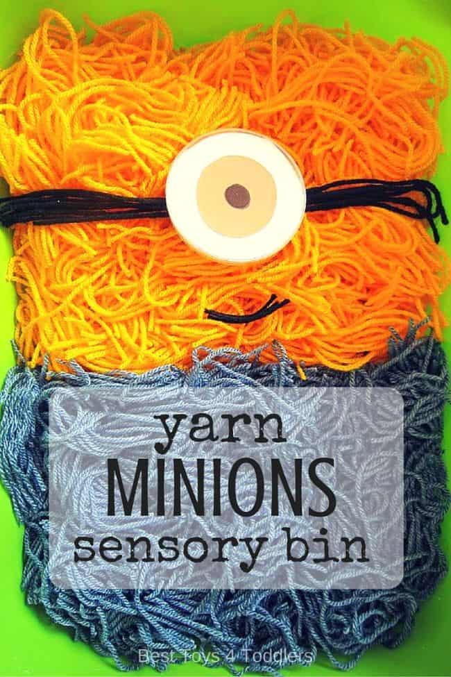Best Toys 4 Toddlers - Yarn Minions Sensory Bin - fun sensory play with fine motor skill practice