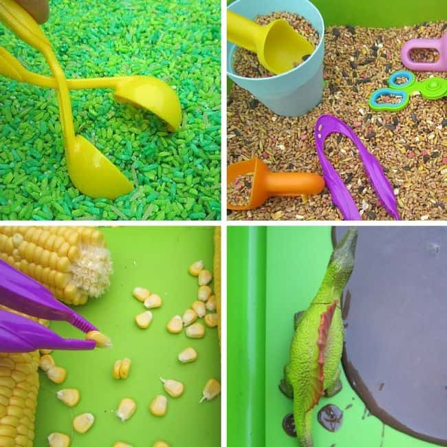 Best Toys 4 Toddlers - ABCD sensory play (apple, bird seed, corn, dinosaurs)