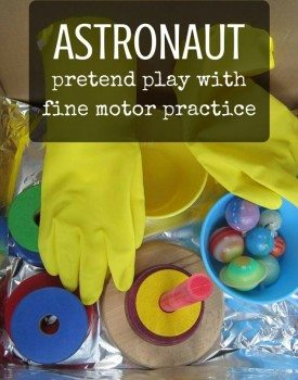 Astronaut Pretend Play with Fine Motor Practice