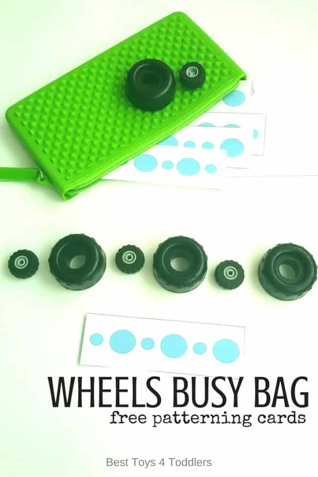Best Toys 4 Toddlers - Wheels Busy Bag for toddlers with free printable patterning strips for pattern practice and sizing #STEM #earlymath #patterning #freeprintable #busybag