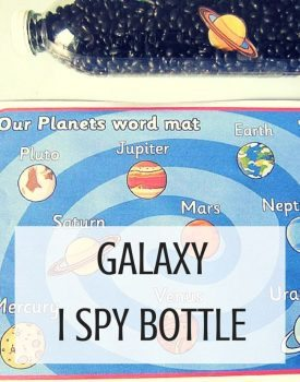 Best Toys 4 Toddlers - Galaxy I spy bottle kids can make themselves! Fun way to work on fine motor skills and perfect for learning about space!