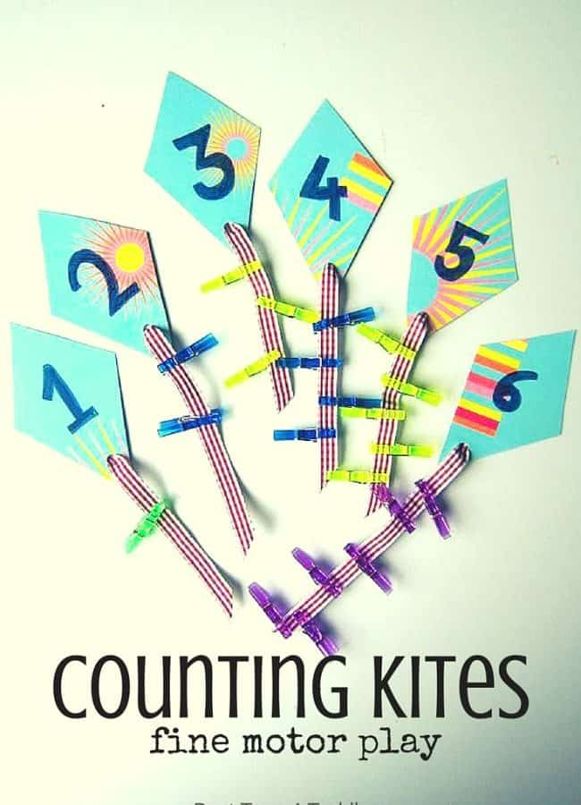 Best Toys 4 Toddlers - Simple to prepare math activity for toddlers and preschoolers to practice counting and fine motor skills as they clip pegs on kites!