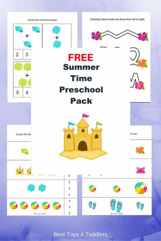 Best Toys 4 Toddlers - Free Summer time printable pack for preschool and kindergarten - practie math, prewritting and letter recognition